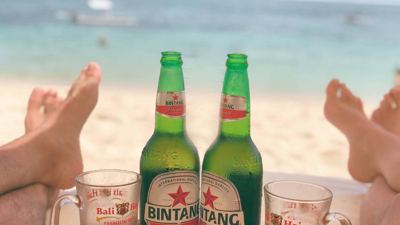 Bière à Bali sur la plage