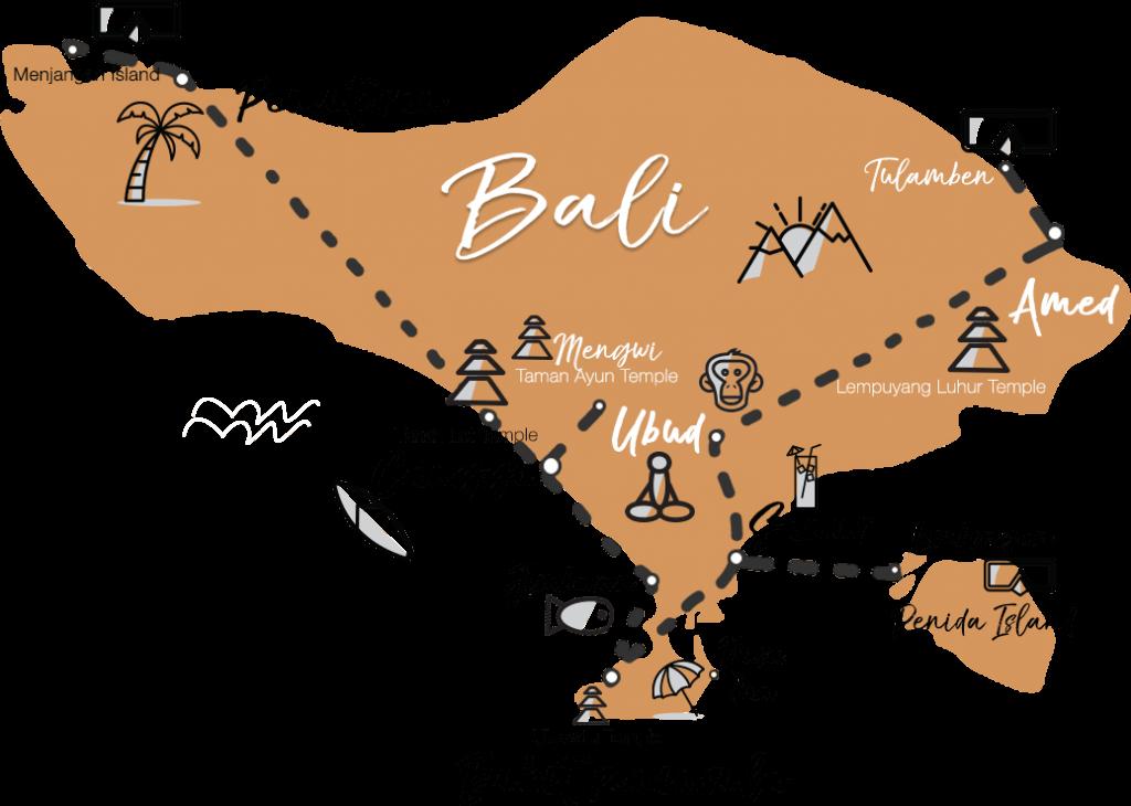 Trajet de digital nomade pour visiter Bali