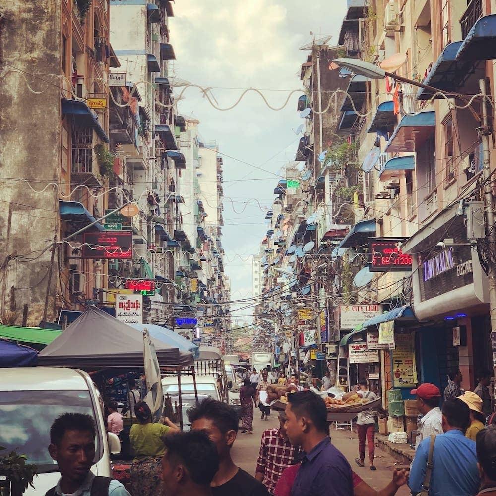 Dowtown Neighborhood Street in Yangon