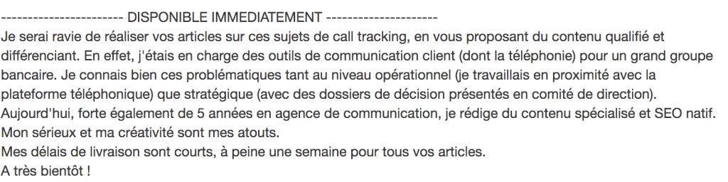 Bon exemple d'une requete freelance