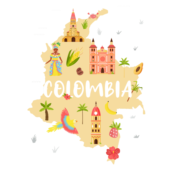 Map of Colombia tourist points