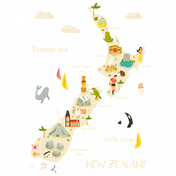 New Zealand map tourist points
